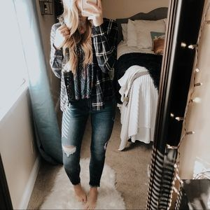 Love Tree Navy Blue Plaid Button Up Flannel
